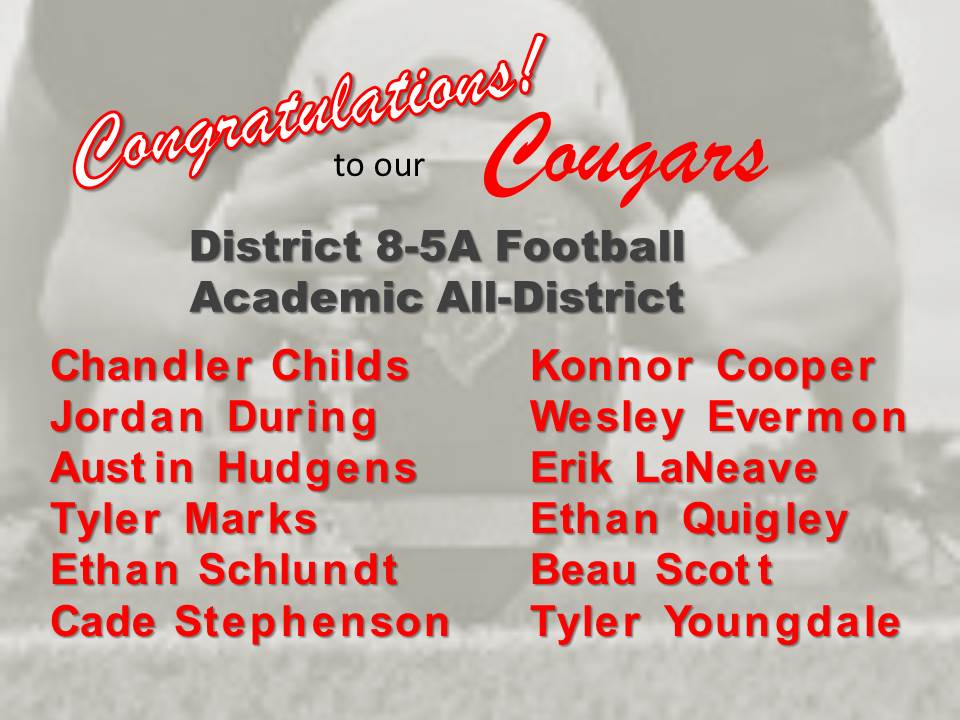Congratulations to the THS Academic All-District Football Recipients!