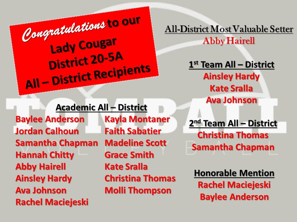 Congratulations to our Lady Cougar All-District Recipients!
