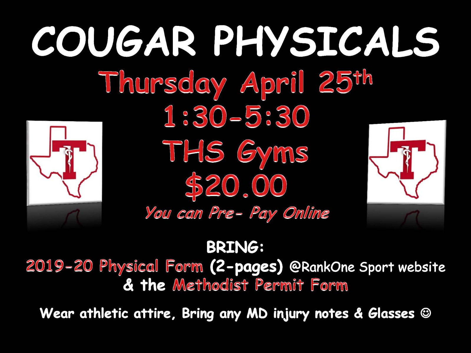 Mark Your Calendars…Athletic Physicals at THS are April 25th!