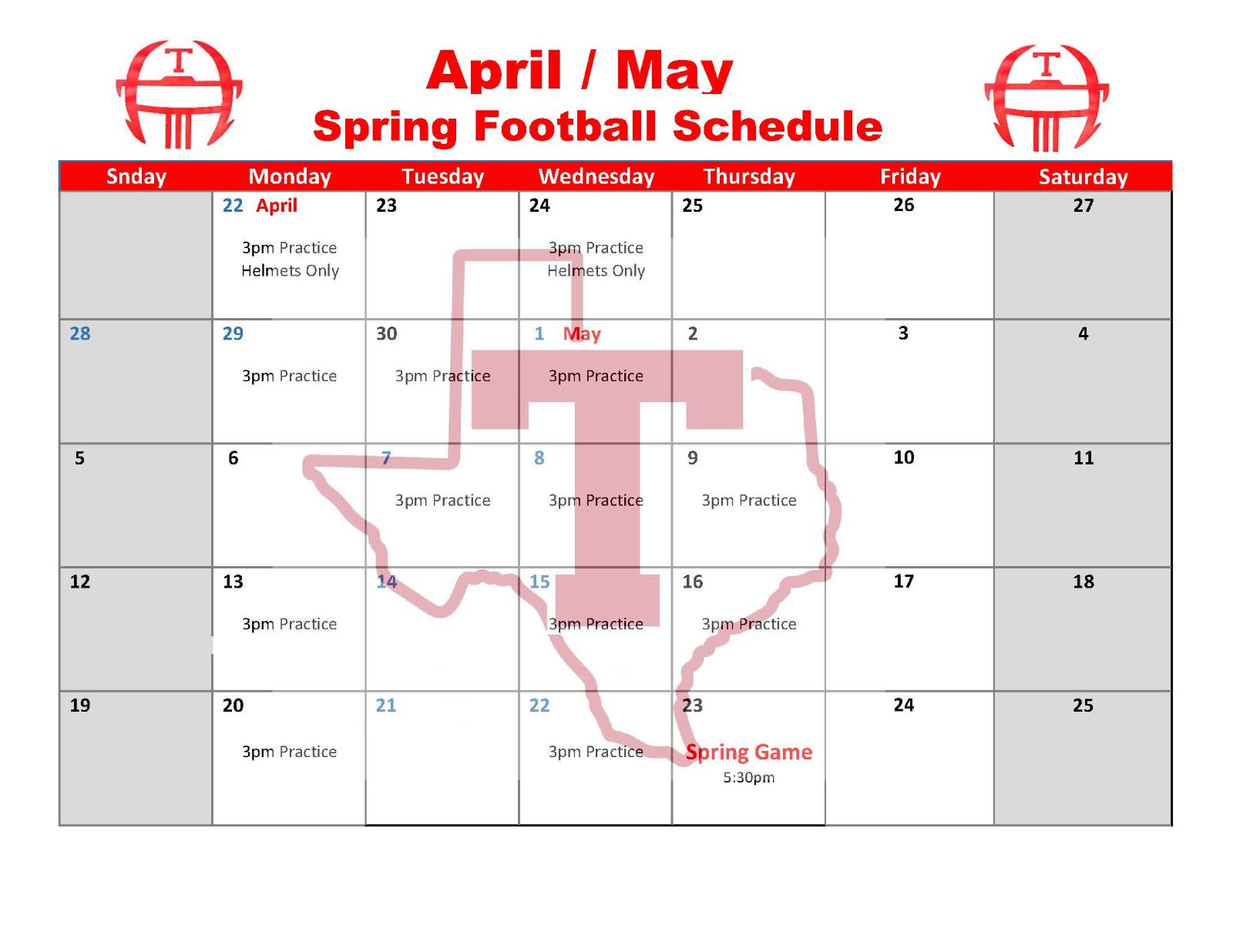 THS Spring Football Schedule!