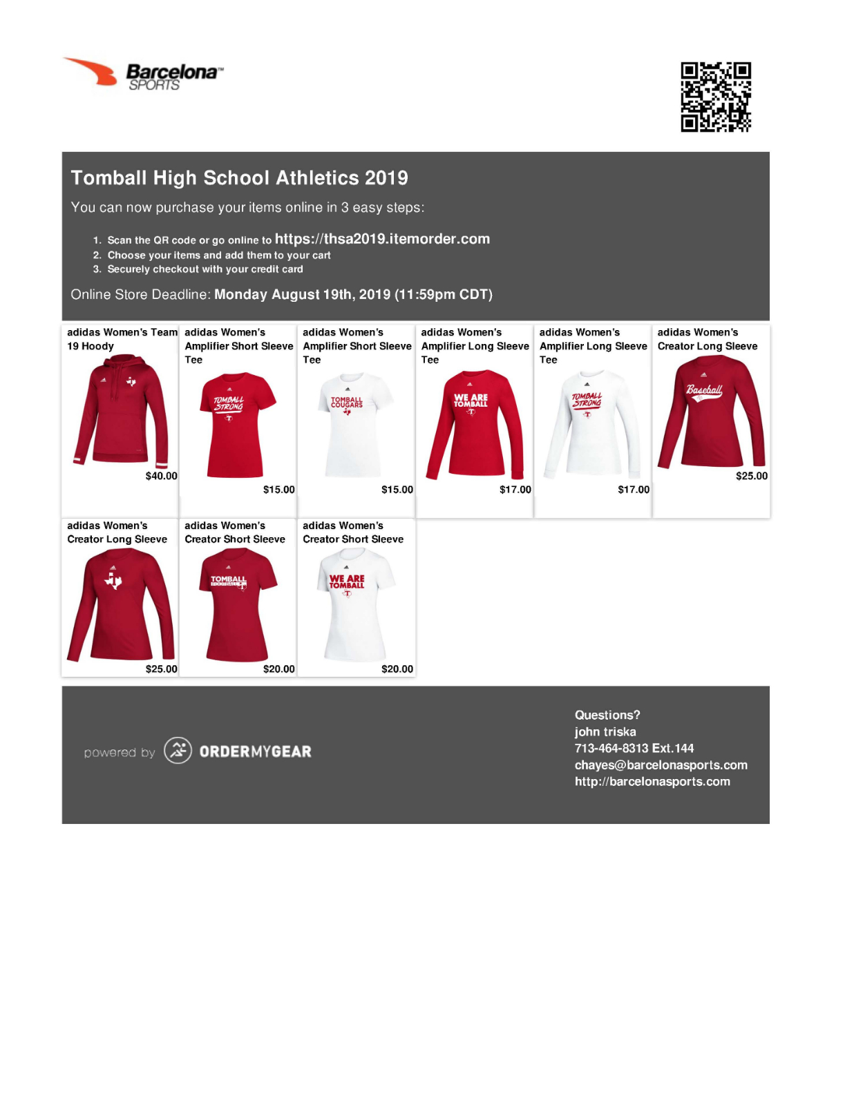 Tomball Cougar Athletic Gear! Order Now!!