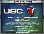TV Information For Football Game vs. Peters Twp. Thursday!