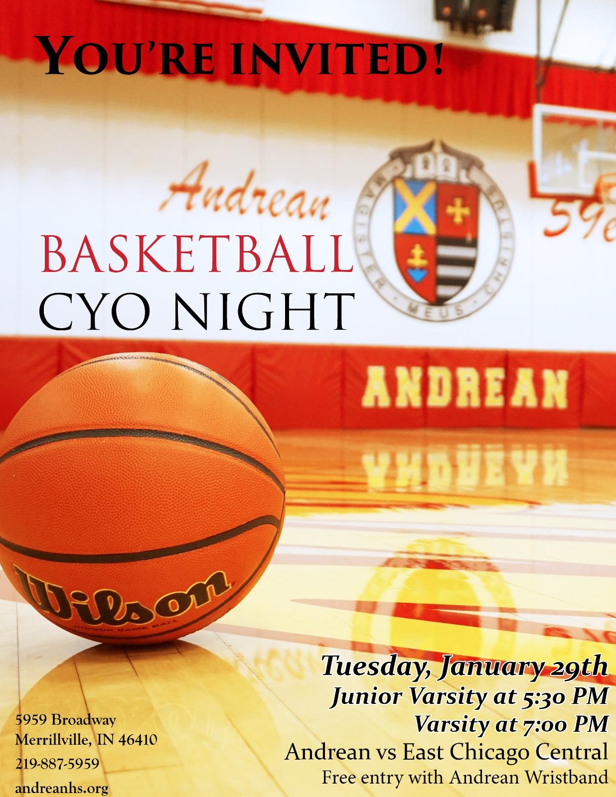 Boys Basketball to Host CYO Night Tuesday January 29th