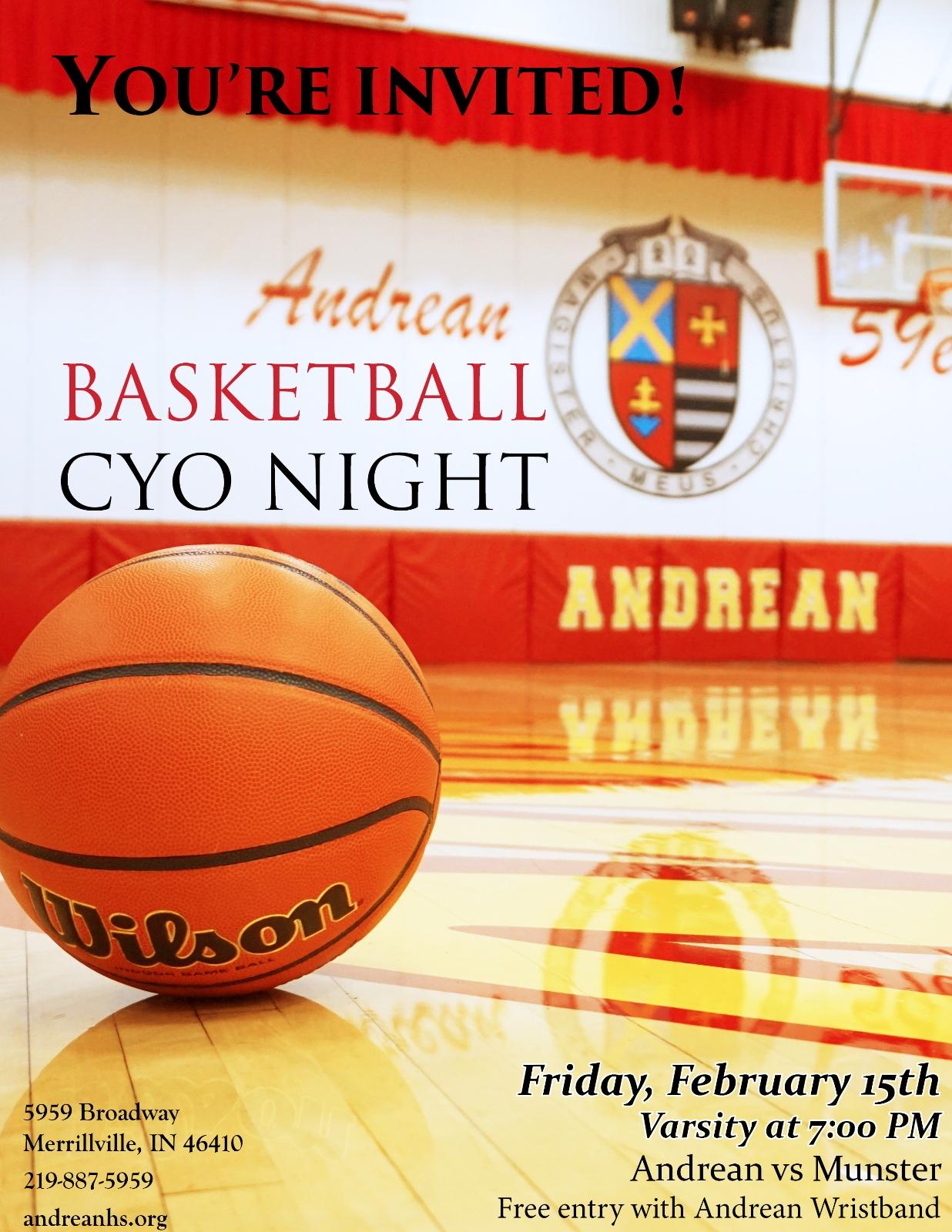 Boys Basketball Reschedules CYO Night to Friday February 15th