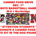 Canned Food Drive Dec. 1st Boys Basketball Game 7:15 PM