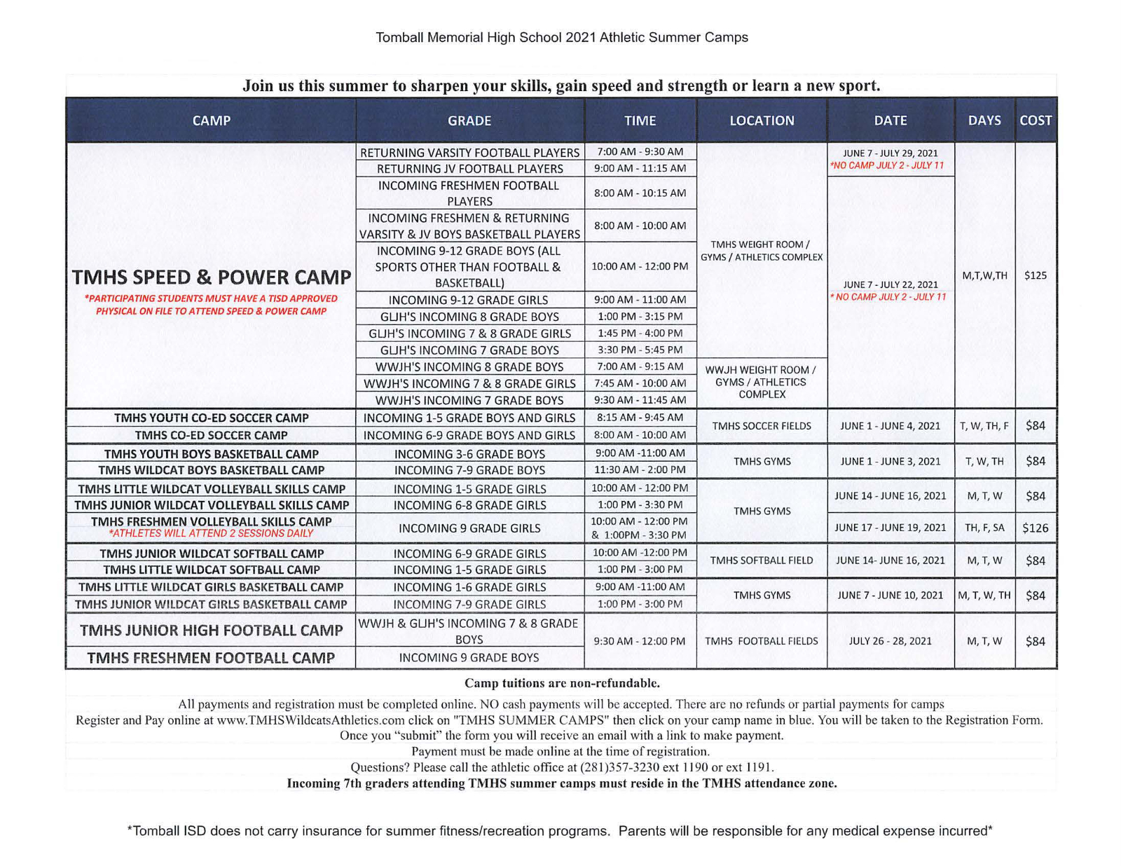 TMHS Summer Camps