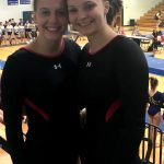 Senior Olivia Ewing and Junior Amelia Wainscott compete in Gymnastics State Preliminary Meet