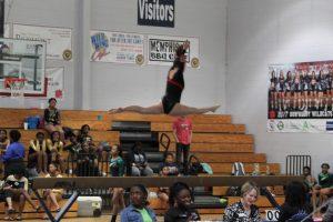 Girls Varsity Gymnastics Team in Action