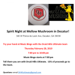 Spirit Night for Ultimate! February 28th in Decatur
