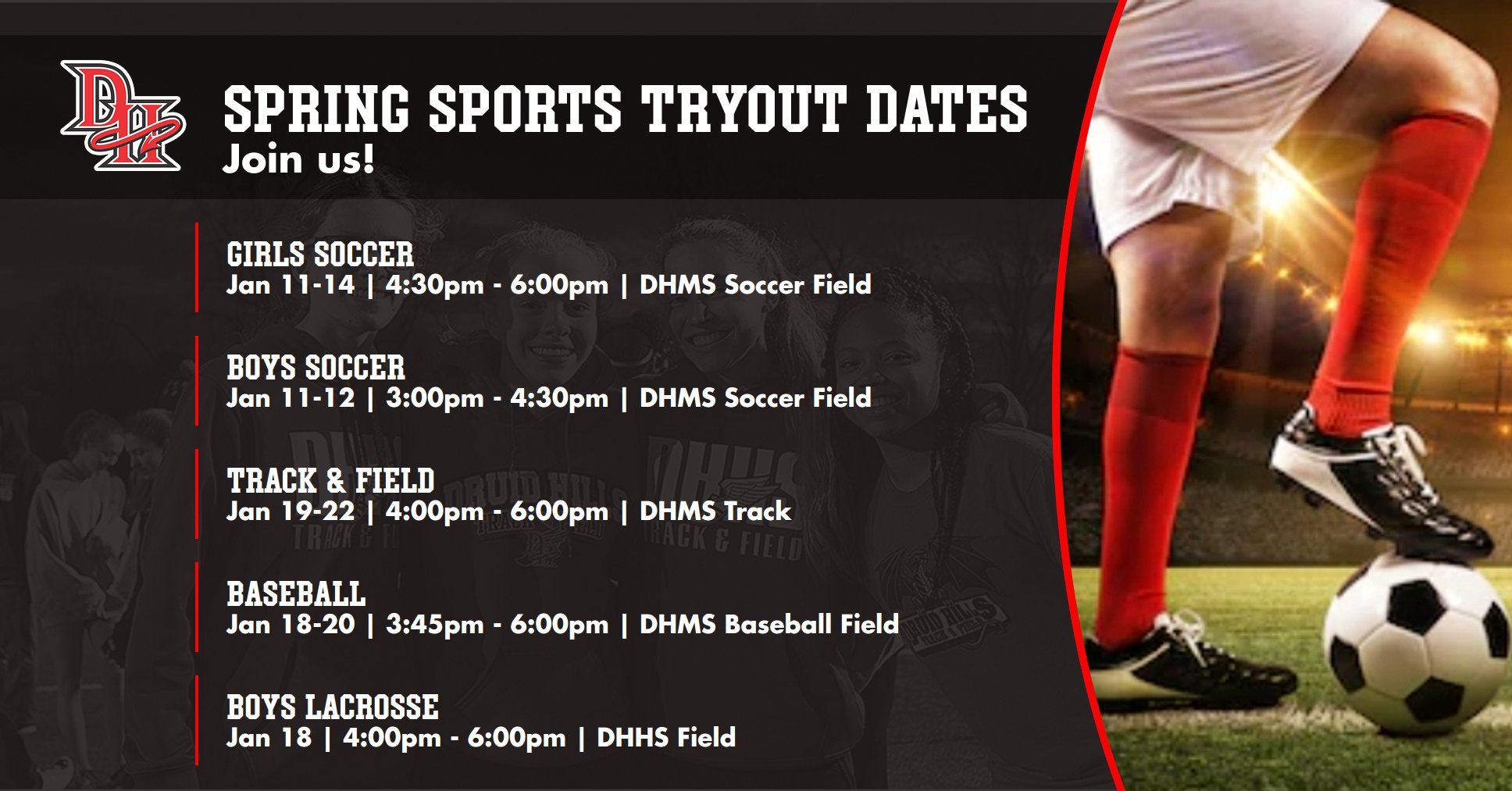 SPRING SPORTS TRYOUT DATES
