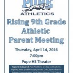 Rising 9th Grade Athletic Parent Night-April 14th