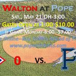 Pope Hosts Walton in State Baseball Finals