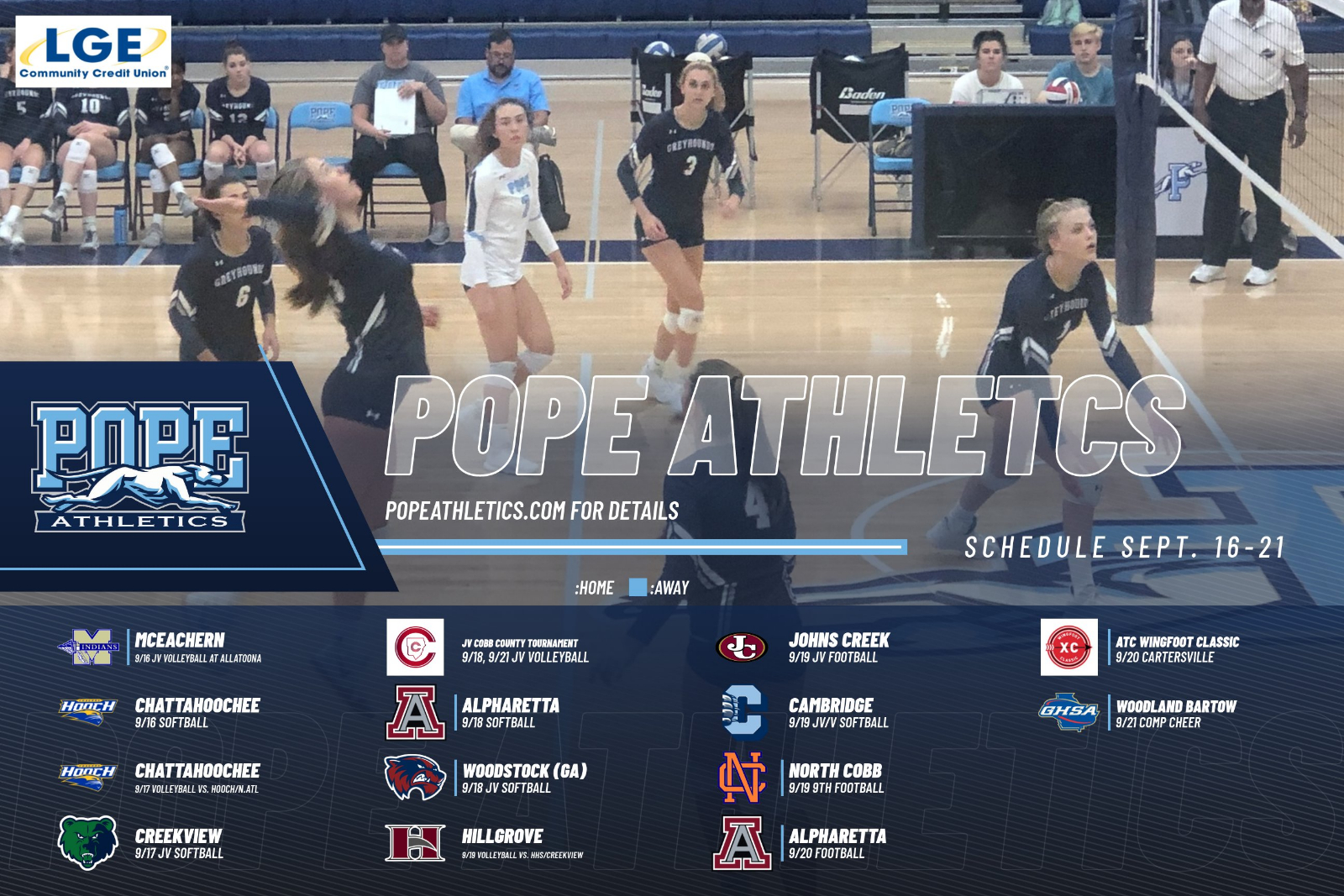 Pope Athletics: Week of Sept. 16th