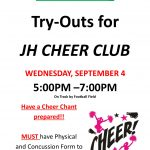 JH Cheer Club sign ups and try outs