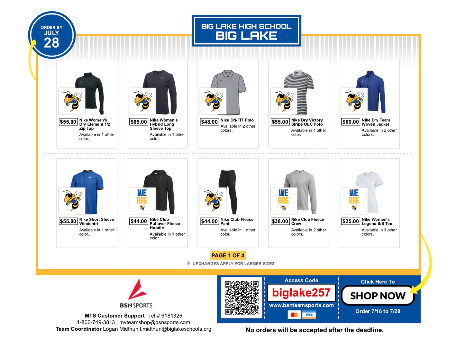 Looking to buy some Big Lake Hornet gear?