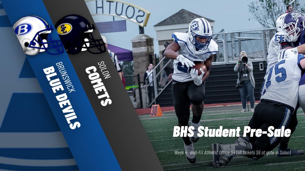 Week 4 Football @ Solon Information & Student Pre-Sale Tickets