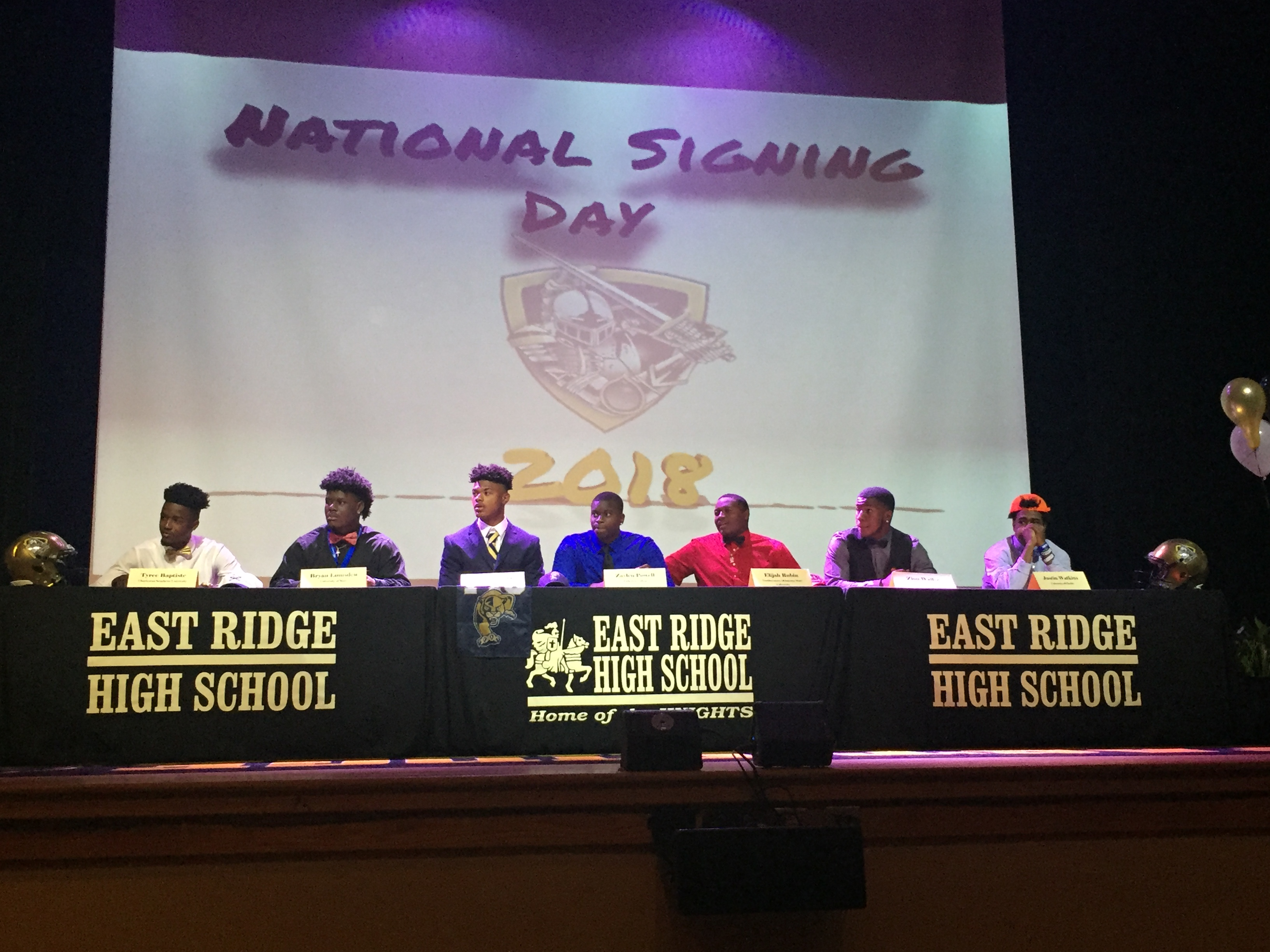 Seven football players sign on National Signing day