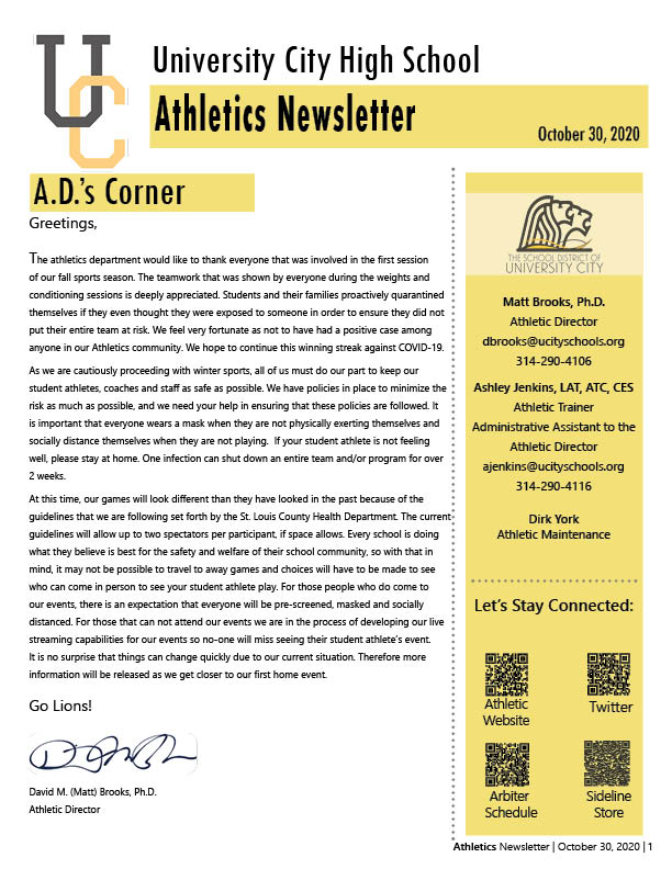 Athletics Newsletter | October 30, 2020