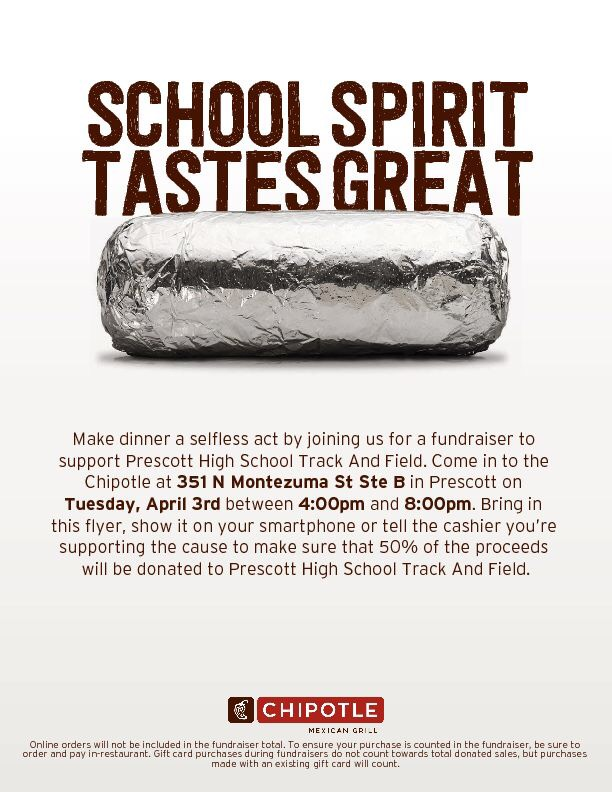 SUPPORT TRACK AND FIELD CHIPOTLE FUNDRAISER