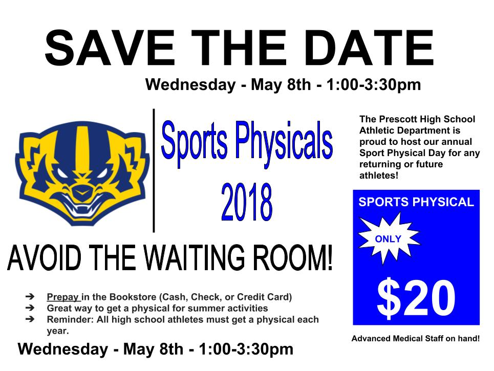 SAVE THE DATE: Athletic Department Physicals-May 8th