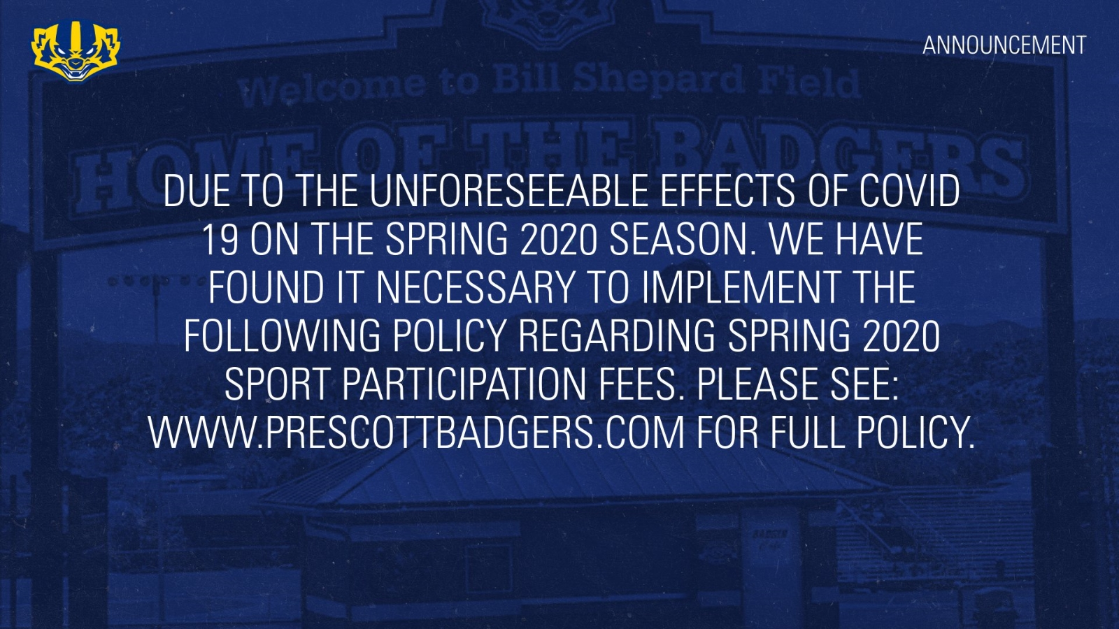 2020 Spring Sport Participation Fee Policy Change