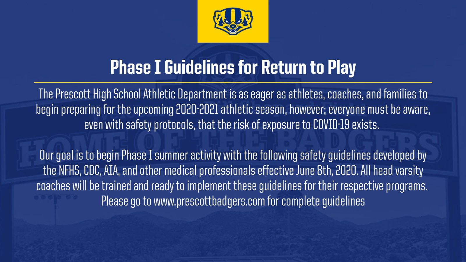 Phase I Athletics Guidelines for Return to Play (as approved by the AIA)