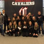 Girls Soccer Team presented with check and plaque from Les Schwab