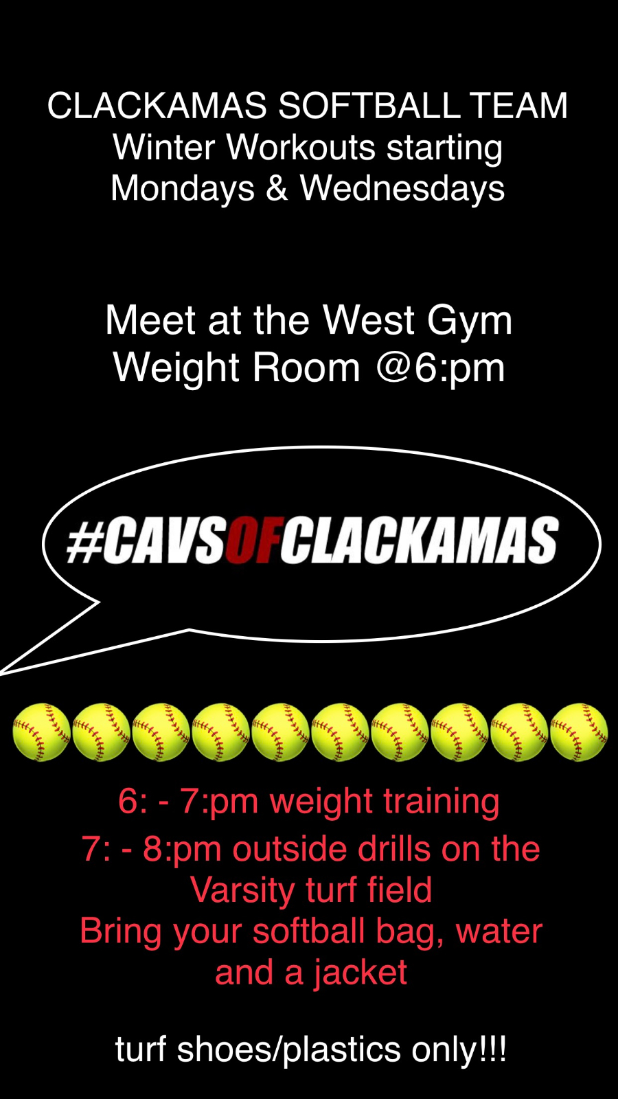 Softball Workouts are beginning Monday, October 7th