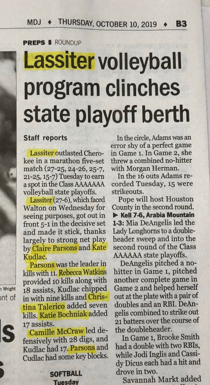 Lassiter Volleyball Highlighted