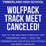 Timberland Track Meet Canceled-April 7