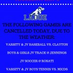 GAME CANCELLATIONS-MAY 3