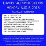 Fall Sports Begin Monday, Aug. 6