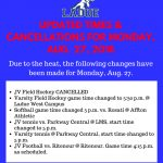 GAME CHANGES FOR MONDAY, AUG. 28