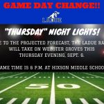 FOOTBALL GAME CHANGE-SEPT. 6