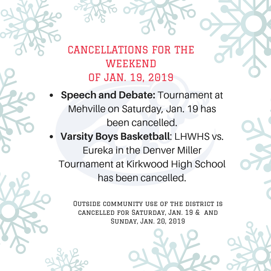 Cancellations for the Weekend of Jan. 19