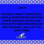Girls Basketball & Wrestling Rescheduled-Jan. 30