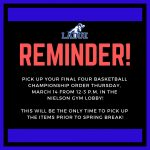 APPAREL PICK UP REMINDER!