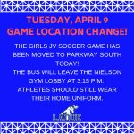 JV SOCCER GAME TODAY NOW AT PARKWAY SOUTH! – APR. 9