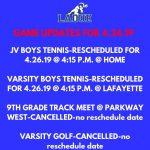 Game Updates for Wednesday, April 24