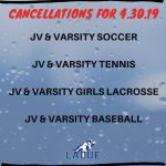 GAME CANCELLATIONS-APRIL 30