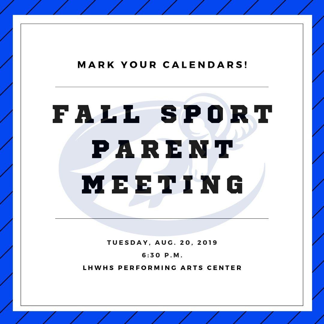 Parent Meeting-Aug. 20