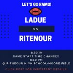 Ladue Rams vs. Ritenour Huskies-GAME START TIME CHANGE TO 8:30 P.M.