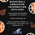 LHWHS BASKETBALL SEASON ADMISSION INFORMATION!
