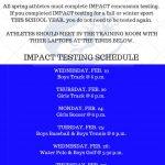 SPRING IMPACT TESTING DATES
