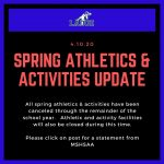 All Spring Athletics and Activities Canceled for Remainder of School Year