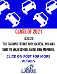 CLASS OF 2021 PARKING INFORMATION!
