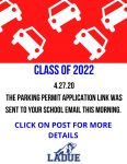 Class of 2022 Parking Information!