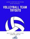 LHWHS Volleyball Team Tryouts