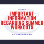 IMPORTANT INFORMATION REGARDING SUMMER ATHLETICS-JULY 16