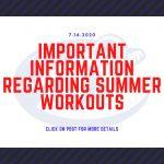 IMPORTANT INFORMATION REGARDING SUMMER ATHLETICS-JULY 16
